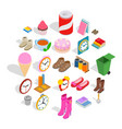indoors icons set isometric style vector image