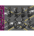 isometric set eight policemans standing vector image