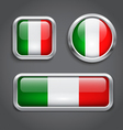 Italy flag glass buttons vector image