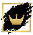 king crown sign golden icon at black spot vector image