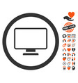 monitor icon with dating bonus vector image vector image