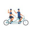people on tandem bike happy male and female vector image