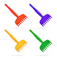 rake toy for child set of plastic rake red vector image