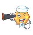 sailor with binocular hexagon mascot cartoon style vector image vector image