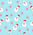 seamless pattern with a snowman and snow with a vector image vector image