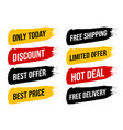 set discount label with advertising text on brush vector image vector image