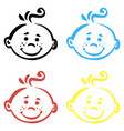 set hand drawn smiles on white background vector image