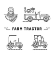Set logos farm tractor line art style Agriculture vector image
