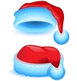 Set red Christmas hat with blue trim vector image vector image