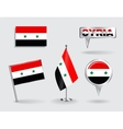 set syrian pin icon and map pointer flags vector image
