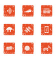 space communication icons set grunge style vector image
