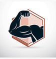 strong muscular arm athlete graphic power lifting vector image
