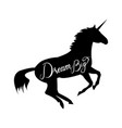 unicorn silhouette with text vector image vector image