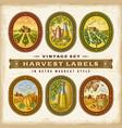 vintage colorful harvest labels set vector image vector image