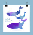 watercolor whales family vector image