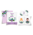 wedding couple flowers save date invitation vector image vector image