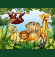wild animal in jungle vector image vector image