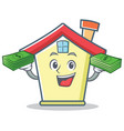 with money house character cartoon style vector image vector image