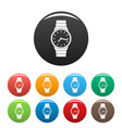 wristwatch man icons set color vector image vector image