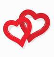 cute abstract red couple hearts stickers icon vector image