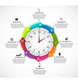 Design infographics clock with arrows in a circle vector image