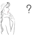 Young woman with question vector image