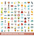 100 meteorological icons set flat style vector image vector image