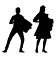 accordionist silhouette vector image vector image