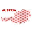 austria map - mosaic of valentine hearts vector image vector image