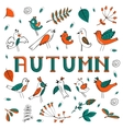 Autumn card with birds leaves and flowers vector image vector image