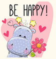 be happy greeting card with hippo vector image vector image