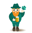 Bearded gnome with beer and shamrock vector image vector image