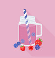 berries smoothie in mason jar glass vector image vector image