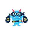 Blue Monster With Horns And Spiky Tail Robbing The vector image vector image