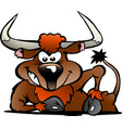 cartoon a angry bull vector image vector image