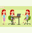 cartoon flat redhead girl character set vector image