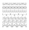 collection floral seamless border black line vector image vector image