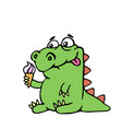 Cute dinosaur keeps ice cream vector image
