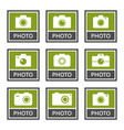 digital camera signs and icons set in vector image vector image