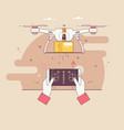 dron delivers the parcelthe concept of fast free vector image vector image