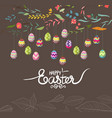 easter eggs background with flowers vector image vector image