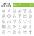 easter thin line icon set spring holiday symbols vector image vector image