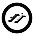 escalator black icon in circle vector image vector image