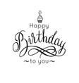 happy birthday lettering inscription cupcake vector image