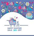 happy easter sale banner spring holiday offer vector image vector image