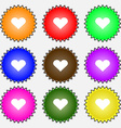 Heart Love icon sign A set of nine different vector image vector image