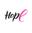 hope pink ribbon breast cancer vector image