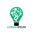 human tree and light bulb logo design vector image vector image