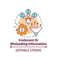 irrelevant or misleading information concept icon vector image vector image