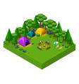 isometric landscape of rest friends at the weeken vector image vector image